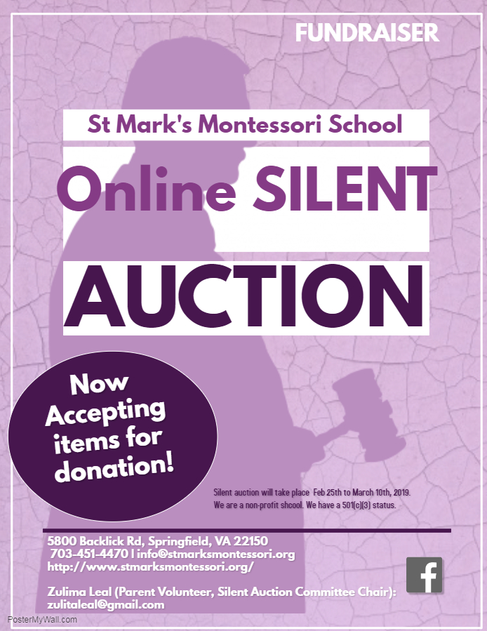 silent auction flyer st mark s montessori school springfield va